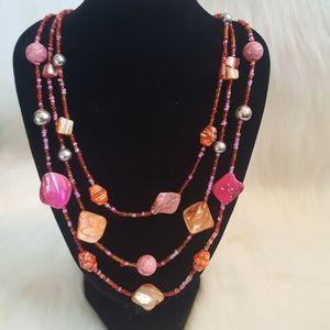Pink & orange 3 strand abalone bead necklace